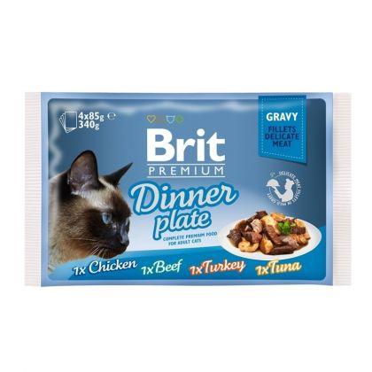 Hrana umeda pentru pisici, Brit Cat Multipack Delicate Dinner Plate in Gravy, 4 x 85 g