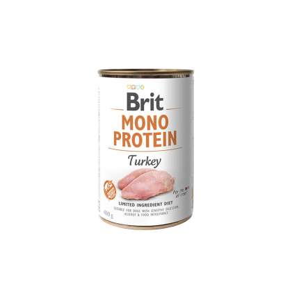 Conserva Brit Mono Protein cu Curcan, 400 g