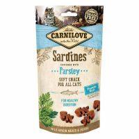 Recompense pentru pisici Carnilove Semi Moist cu Sardine si Patrunjel, 50g