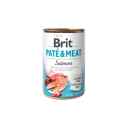 Conserva cu bucati de carne si pate, Brit Pate & Meat cu Somon, 400 g