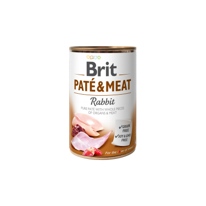 Conserva cu bucati de carne si pate, Brit Pate & Meat cu Iepure, 400 g