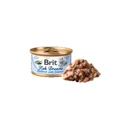 Conserva pentru pisici, Brit Fish Dreams cu Macrou si Alge Marine, 80 g