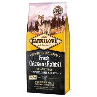 Hrana uscata pentru caini Carnilove Fresh cu Pui si Iepure, Fara cereale si cartofi, 12 Kg