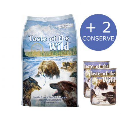 Taste of the Wild Pacific Stream Canine, 12.2 Kg + 2 Conserve Taste of the Wild