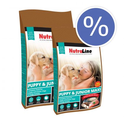Pachet economic: Nutraline Dog Puppy & Junior Maxi, 2 x 12.5 Kg