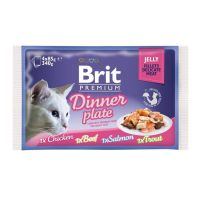 Brit Cat Multipack Delicate Dinner Plate in Jelly, 4 x 85 g