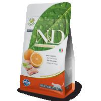 Hrana uscata pentru pisici, N&D Cat Adult Grain Free, Peste si Portocale, 5 kg