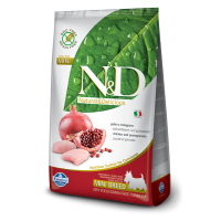 Hrana uscata pentru caini N&D Grain Free Adult Mini, Pui si Rodie, 2.5 kg
