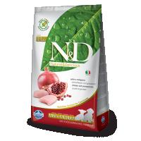 Hrana uscata pentru caini N&D Grain Free Puppy Mini & Medium, Pui si Rodie, 2.5 kg