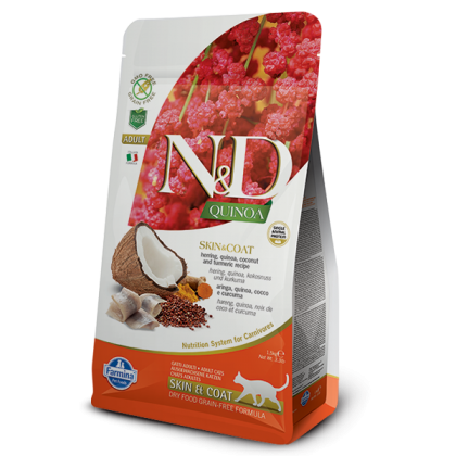 Hrana uscata pentru pisici N&D Cat Quinoa Skin & Coat Herring, 1.5 kg