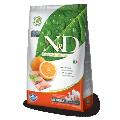 Hrana uscata pentru caini, N&D Grain Free Adult Medium, Peste si Portocale, 12 kg