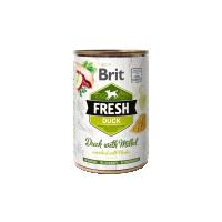 Hrana umeda pentru caini, Conserva Brit Fresh cu Rata si Mei, 400 g