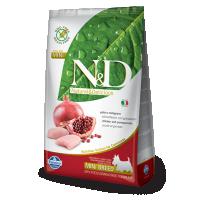 Hrana uscata pentru caini N&D Grain Free Adult Mini, Pui si Rodie, 7 kg
