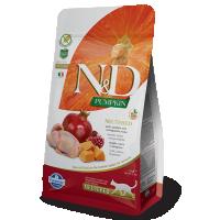 Hrana uscata pentru pisici, N&D Neutered Cat cu Prepelita, Dovleac si Rodie, 1.5 kg