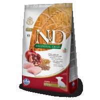 Hrana uscata pentru caini, N&D Low Grain Puppy Mini, Pui si Rodie, 2.5 Kg