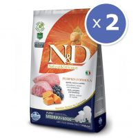 Pachet economic: 2 x N&D Grain Free Puppy Medium/Maxi Miel, Afine & Dovleac, 12 Kg