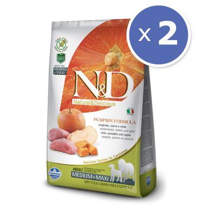 Pachet economic: 2 x N&D Grain Free Adult Medium si Maxi - Mistret Dovleac si Mar, 12 Kg