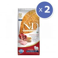 Pachet economic: 2 x N&D Low Grain Adult Maxi, Pui si Rodie, 12 kg