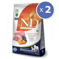 Pachet economic: 2 x N&D Grain Free Adult Medium si Max - Miel, Dovleac si Afine, 12 Kg