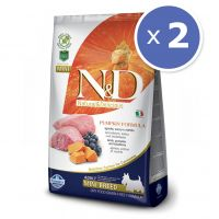 Pachet economic: 2 x N&D Grain Free Adult Mini Miel, Afine si Dovleac, 7 kg