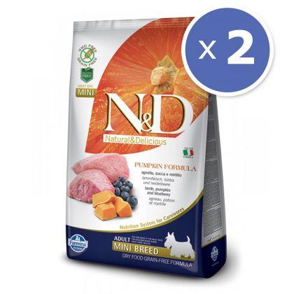 Pachet economic: 2 x N&D Grain Free Adult Mini Miel, Afine si Dovleac, 7 kg