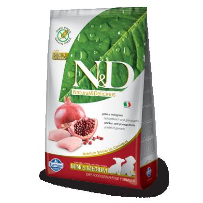 Hrana uscata pentru caini, N&D Grain Free Puppy Mini & Medium, Pui si Rodie, 12 kg