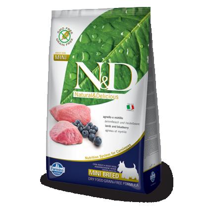 Hrana uscata pentru caini, N&D Grain Free Adult Mini, Miel si Afine, 2.5 kg