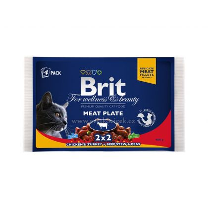 Hrana umeda pentru Pisici Brit Premium Cat Multipack felii de carne, 4 Plicuri x 100g