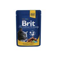 Hrana umeda pentru pisici Brit Premium Cat plic cu Pui si Curcan, 100g