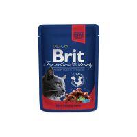Hrana umeda pentru pisici Brit Premium Cat plic cu Vita si Mazare, 100g
