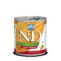 Hrana umeda pentru caini, Conserva N&D Dog Ancestral Grain, Pui si Rodie, 285 g