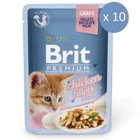 10 x Brit Cat Delicate Kitten Pui in sos, 85 g