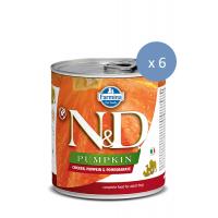 6 x Conserva N&D Dog cu Pui, Dovleac si Rodie, 285 g