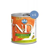 6 x Conserva N&D Dog cu Mistret, Dovleac si Mere, 285 g