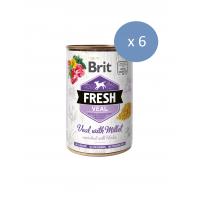 6 x Conserva Brit Fresh cu Vitel si Mei, 400 g