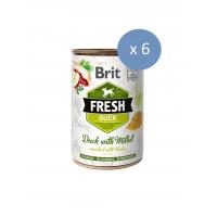 6 x Conserva Brit Fresh cu Rata si Mei, 400 g