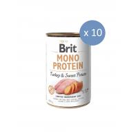 10 x Conserva Brit Mono Protein cu Curcan si Cartofi dulci, 400 g