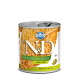Hrana umeda pentru caini, Conserva N&D Dog Ancestral Grain, Mistret si Mar, 285 g