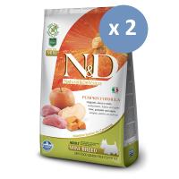 Pachet economic: 2 x N&D Grain Free Adult Mini - Mistret Dovleac si Mar, 7 Kg