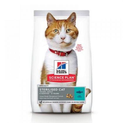 Hrana uscata pentru pisici Hill's SP Feline Young Adult Sterilised Cat cu Ton, 15 Kg