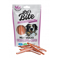 Recompense pentru caini, Brit Let`s Bite Meat Snack Chicken and Codfish Stripes, 80 g