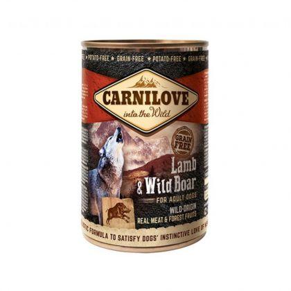 Hrana umeda pentru caini Carnilove Wild Meat cu Miel si Mistret, 400g