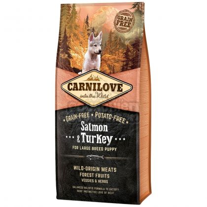Carnilove Large Breed Puppy cu Somon si Curcan, 12 Kg