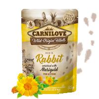 Hrana umeda pentru pisici, Carnilove Cat Pouch cu Iepure si Galbenele, 85 g