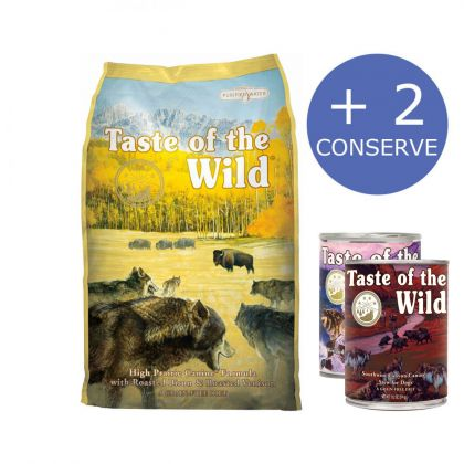Taste of the Wild High Prairie Canine Formula, 12.2 Kg + 2 Conserve Taste of the Wild
