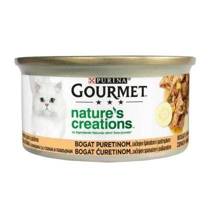Conserva Gourmet Nature's Creation cu Curcan si Spanac, 85 g