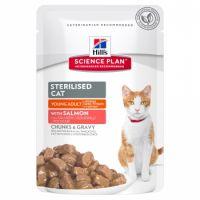 Hrana umeda pentru pisici Hill's SP Feline Young Adult Sterilised cu Somon, 85g