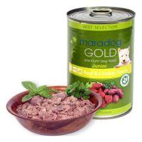 Hrana umeda pentru caini Maradog Gold Junior cu Vita si Inimi de Pui, 400g