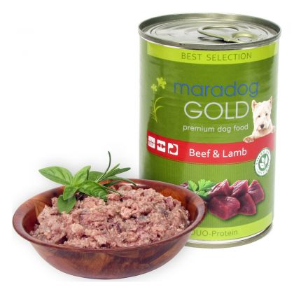 Hrana umeda pentru caini Maradog Gold cu Vita si Miel, 400g