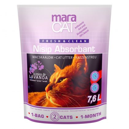 Nisip litiera pisici Maracat Silicat cu Lavanda, 7.6 L